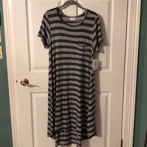 Lularoe Carly army green and gray stripe